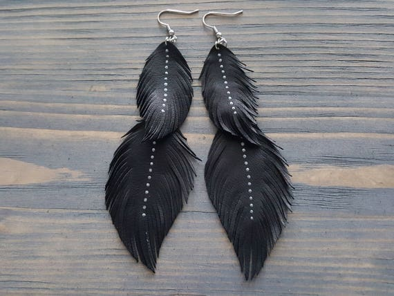 Extra long bohemian earrings. Boho earrings. Leather earrings. Feather earrings. Leather feather earrings. Hippie earrings. Boho jewelry.