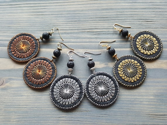 Leather earrings Circle earrings Round earrings Boho earrings Tribal earrings boho jewelry Leather disc earrings Leather drop earrings