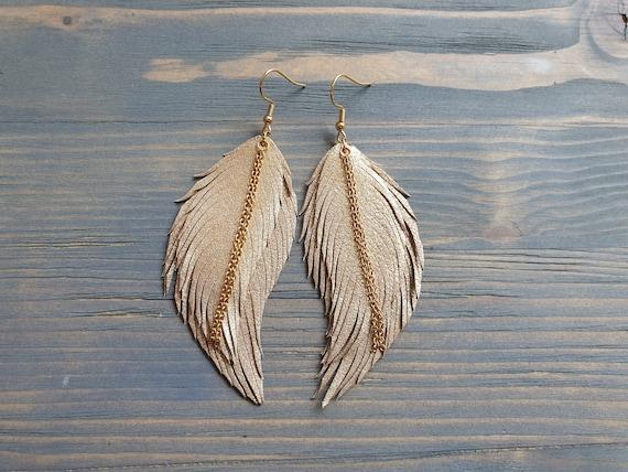Gold Feather Earrings, Statement Earrings, Leather Earrings, Boho Earrings, Large Earrings, Lightweight Earrings, Leather Feather earrings