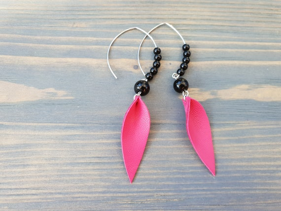Hot Pink Black and Silver Leather Earrings Black Agate Earrings Boho Jewelry Bright Leather Leaf Earrings Beaded Earrings Long Earrings