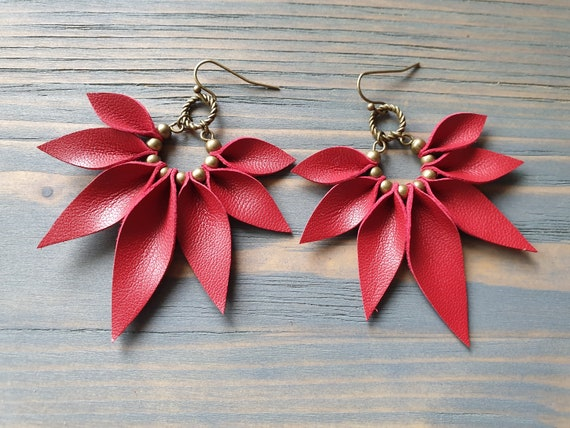 Statement Earrings, Large Red Hoop Earrings, Leather Earrings, Leather Petal Earrings, Leather Leaf Earrings, Bohemian Earrings.