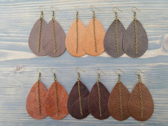 Classic Leather Earrings  Statement Earrings  Brown Genuine Leather Teardrop Earrings Jewelry Fashion Big Earrings Trendy Jewelry