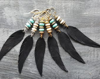 Black feather earrings. Leather feather earrings. Gemstone beaded earrings. Long drop earrings. Boho earrings. Bohemian earrings. Boho chic.