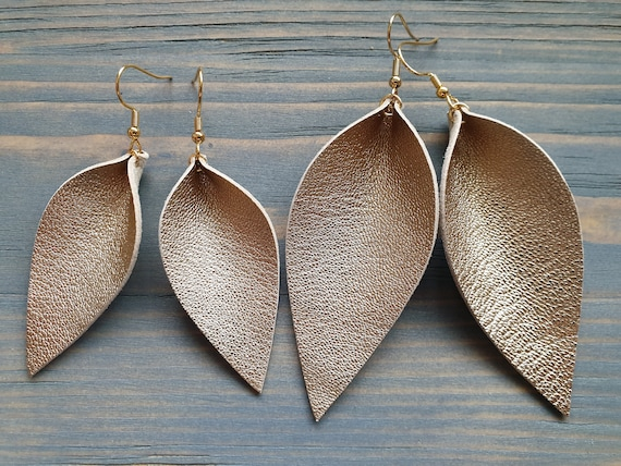 Gold Leaf Earrings, Leather Earrings, Leather Leaf Earrings, Genuine Leather Earrings, Boho Earrings, Leather Jewelry, Trendy Earrings