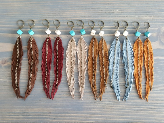 Long Earrings. Statement Earrings. Leather Earrings. Gemstone Bohemian Earrings. Boho Earrings. Leather Feather Earrings. Statement Jewelry.