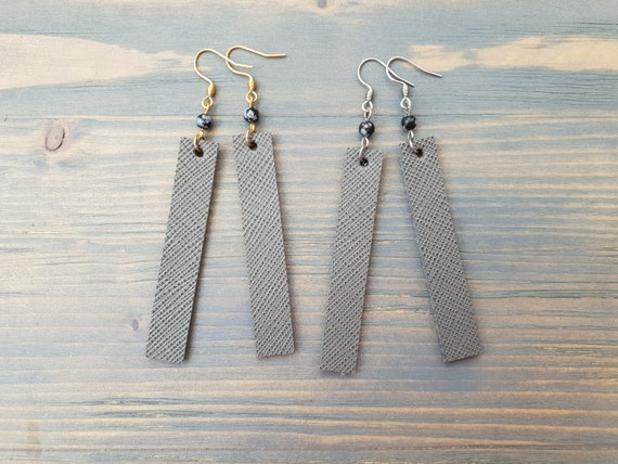 Minimalist Leather Earrings, Grey Earrings, Grey Leather Earrings, Bar Earrings, Leather Bar Earrings, Simple Earrings, Minimalist Jewelry.