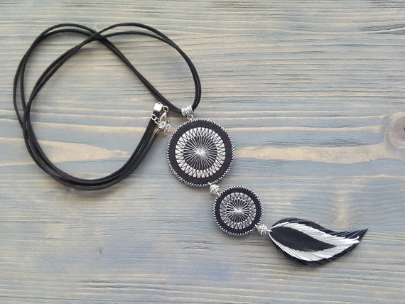 Long Bohemian Necklace. Leather Feather Necklace. Long Boho Necklace. Black Leather Necklace. Silver Statement Necklace. Bohemian Jewelry.
