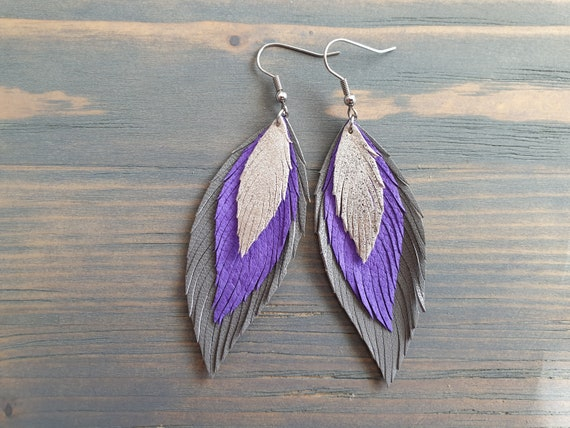 Leather Earrings, Grey Purple Silver Earrings, Leather Feather Earrings, Layered Leather Earrings, Statement Earrings, Bohemian Earrings