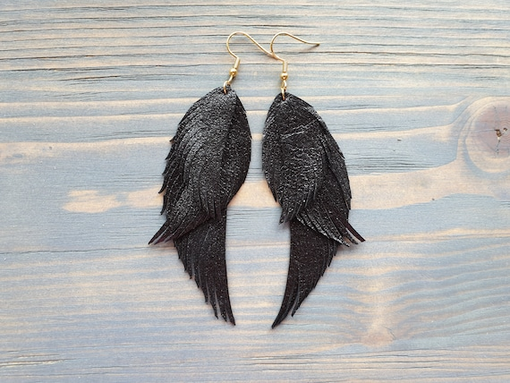 Black Feather Earrings, Leather Feather Earrings, Boho Earrings, Leather Earrings, Statement Earrings, Black Earrings, Boho Jewelry For Her