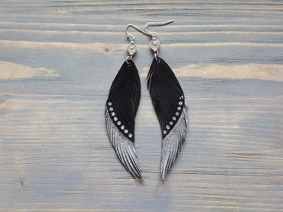Bohemian Earrings. Leather Feather Earrings. Long Earrings. Black Suede Earrings. Boho Earrings Silver and Black Earrings Statement Earrings