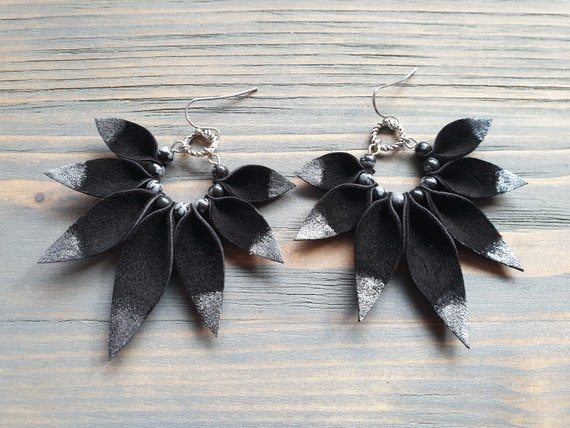 Large Genuine Leather Petal Earrings, Big Statement Earrings, Black and Silver Suede Earrings, Bohemian Hoop Earrings, Unique Gift For Her