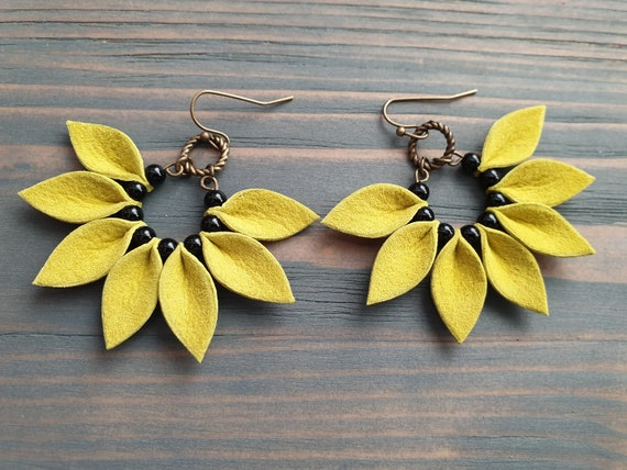 Bright Yellow Leather Earrings, Holiday Jewelry