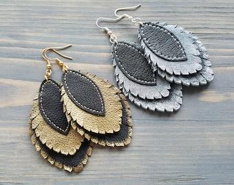 Layered Leather Earrings. Large Statement Earrings. Boho Leaf Earrings. Leather feather earrings. Dangle Bohemian Earrings Boho chic jewelry