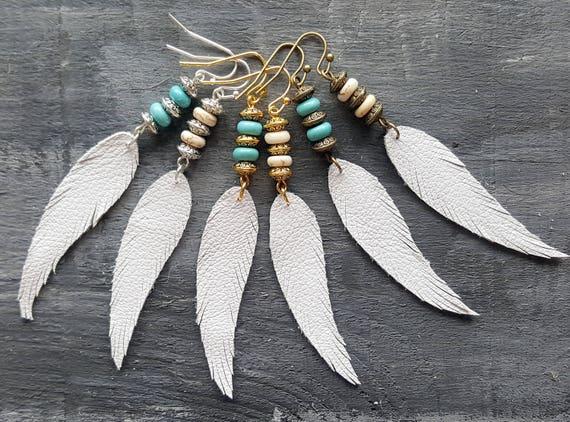 White feather earrings. Leather feather earrings. Gemstone beaded earrings. Long drop earrings. Boho earrings. Bohemian earrings.