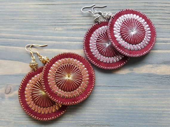 Large Circle Earrings, Bohemian Earrings, Statement Earrings, Burgundy Leather Earrings, Embroidered Boho Earrings. Large Dangle Earrings.