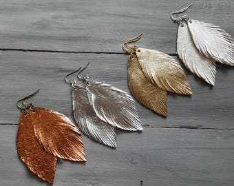 Metallic leather earrings, Leather feather earrings, Leather earrings, Feather earrings Boho earrings Bohemian earrings Lightweight earrings