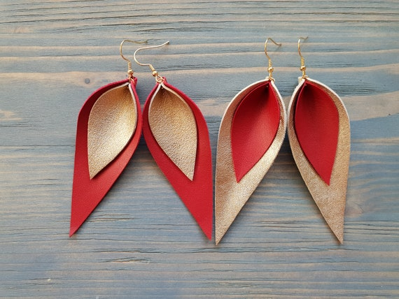 Leather Leaf Earrings, Leather Earrings, Large Leaf Earrings, Lightweight Earrings, Red Earrings, Handmade Earrings, Genuine Leather