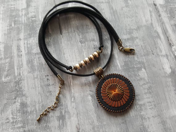 Bronze Leather Necklace. Black Suede Choker. Gemstone Bar Necklace. Bohemian Pendant Necklace. Boho Choker. Boho necklace. Bohemian Jewelry.