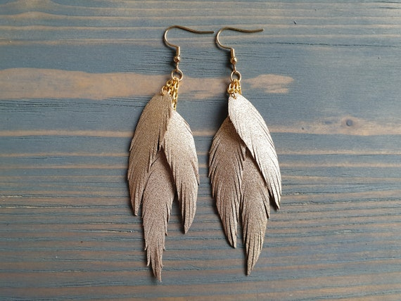 Gold Feather Earrings, Leather Feather Earrings, Triple Layered Leather Earrings, Dangle Earrings, Leather, Feathers, Boho Earrings