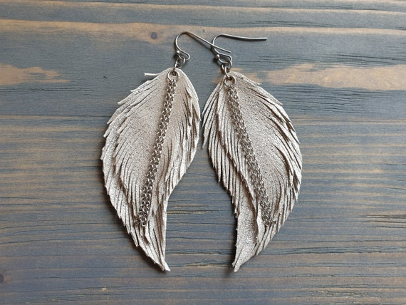 Silver Feather Earrings, Leather Earrings, Leather Feather Earrings, Boho Earrings, Large Silver Earrings, Statement Earrings Bohemian