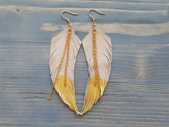 Dangle Boho Earrings, Leather Feather Earrings, Feather Leather Earrings, Long Earrings, Beige Earrings, Bohemian Earrings, Boho Jewelry