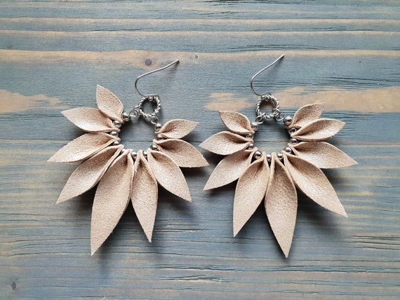 Large Leather Earrings. Boho Earrings. Big Hoop Earrings. Bohemian Earrings. Beige Leather Earrings. Leather Petal Earrings. Leaf Earrings