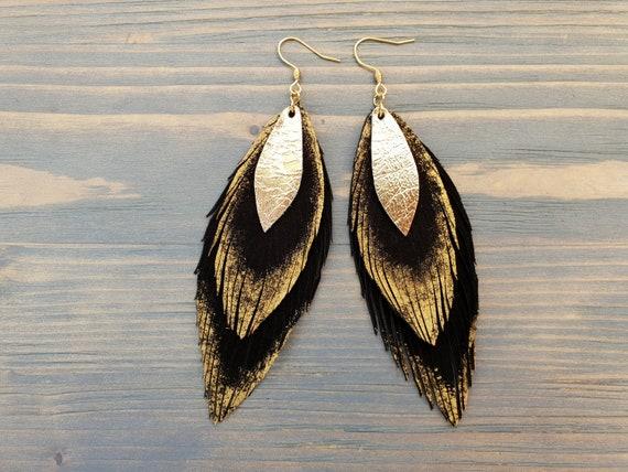 Large Suede Earrings, Black Leather Earrings, Boho Earrings, Leather Feather Earrings, Bohemian Earrings, Statement Earrings, Gold Feathers.