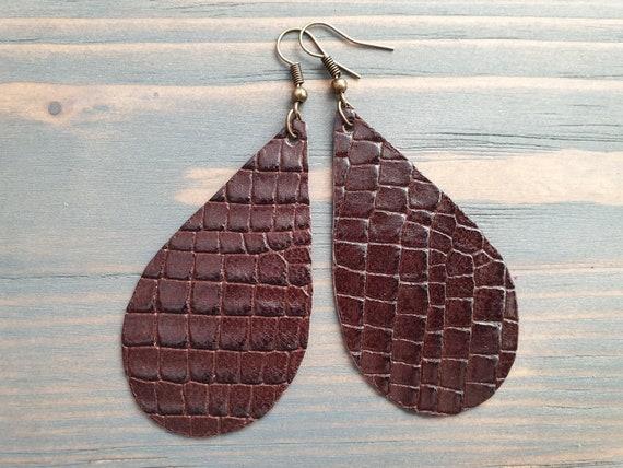 Genuine Leather Teardrop Earrings, Brown Leather Earrings, Casual Jewelry, Boho Earrings, Large Teardrop Earrings, Lightweight Earrings