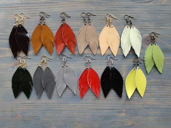 Patent Leather Earrings, Leather Feather Earrings, Drop Earrings, Dangle Earrings, Boho Earrings, Small Earrings, Simple Earrings Handmade