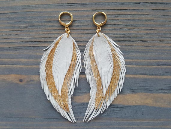 White Leather Feather Earrings, Long Dangle Bohemian Earrings, White and Gold Feather Earrings, Leather Earrings, Boho Jewelry