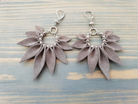 Grey earrings, Leather earrings, Grey leather earrings, Boho earrings, Large earrings, Statement earrings, Big earrings, Boho jewelry