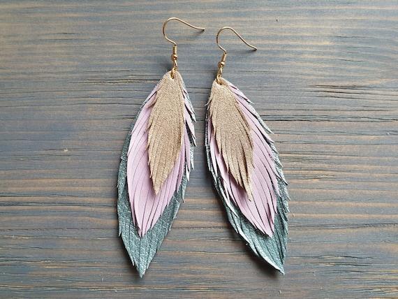 Layered Leather Earrings, Long Earrings, Leather Feather Earrings, Statement Earrings, Dangle Earrings, Bohemian Earrings, Blue Pink Gold