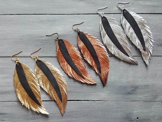 Metallic Leather Earrings. Leather Feather Earrings. Large Leather Earrings. Feather Earrings. Bohemian Earrings. Boho Chic Earrings.
