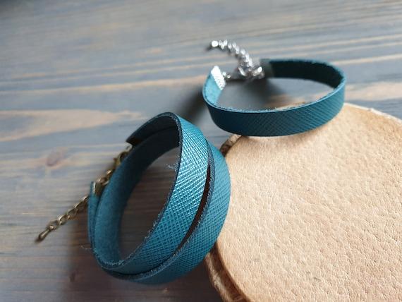 Leather Wrap Bracelet, Green Leather Bracelet, Leather Cuff, Green Bracelet, Leather Wristband, Bangle Bracelet, Green Minimalist Wrist Cuff