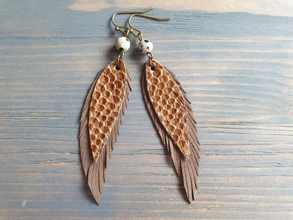 Brown feather earrings. Leather feather earrings. Gemstone beaded earrings. Long drop earrings. Boho earrings. Bohemian earrings. Boho chic.
