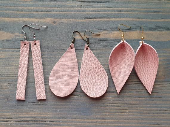 Blush Earrings, Leather Earrings, Leather Bar Earrings, Leather Teardrop Earrings, Leather Leaf Earrings, Simple Minimalist Earrings Pink