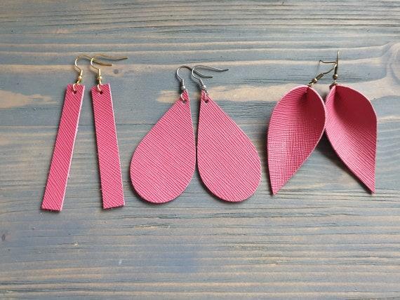 Pink Leather Earrings, leather Bar Earrings, Leather Teardrop Earrings, Leather Leaf Earrings, Pink Earrings, Handmade Earrings