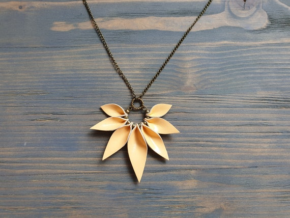 Leather Petal Necklace, Leather Pendant Necklace, Bronze Chain Necklace, Statement Necklace, Peach Necklace, Boho Necklace, Leather Jewelry