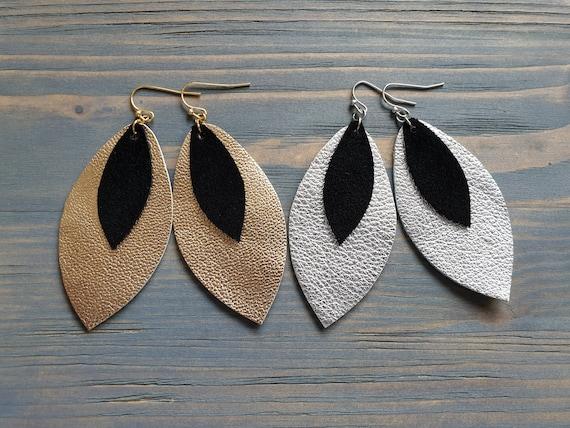 Metallic Leather Earrings, Petal Earrings, Leather Teardrop Earrings, Trendy Earrings, Fashion Jewelry, Handmade Earrings, Gift For Her