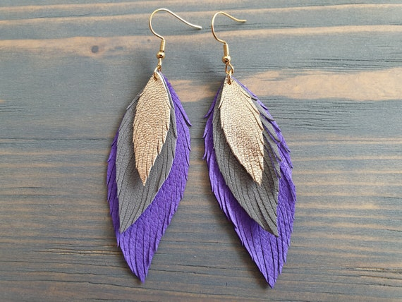 Purple Grey Gold Leather Earrings, Layered Leather Earrings, Statement Earrings, Leather Feather Earrings, Bohemian Earrings, Boho Jewelry