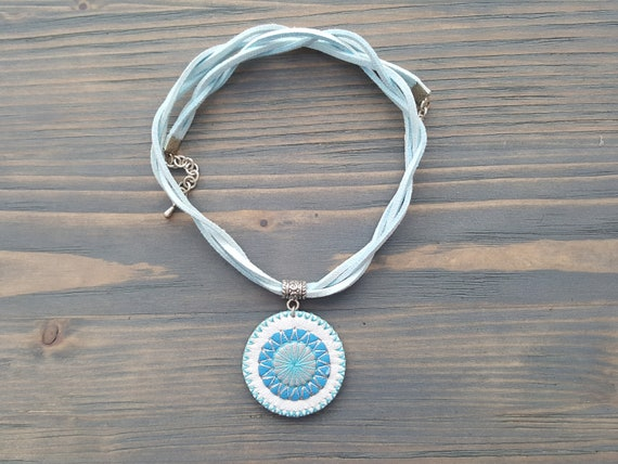 White and blue leather necklace. Boho necklace. Leather choker. Boho choker. Bohemian choker. Mandala necklace. Mandala pendant. Bohemian.