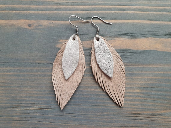 Leather Feather Earrings, Small Leather Earrings, Boho Earrings, Shiny Beige and Silver Leather Earrings, Lightweight Earrings, Boho Jewelry