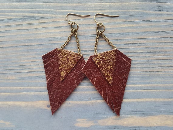 Dark Red Earrings. Leather Earrings. Boho Earrings. Bohemian Earrings. Red Bronze Earrings. Leather Fringe Earrings. Boho Chic Jewelry.