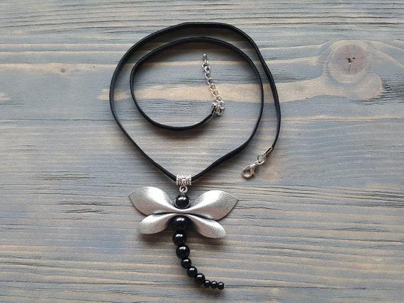 Black Leather Necklace, Black Onyx Necklace, Large Onyx Pendant, Dragonfly Necklace, Statement Necklace, Statement Jewelry Gemstone Necklace
