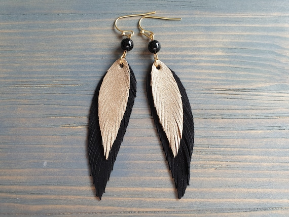 Leather Feather Earrings, Layered Leather Earrings, Black and Gold Leather earrings, Black Onyx Earrings, Boho Earrings, Bohemian Earrings