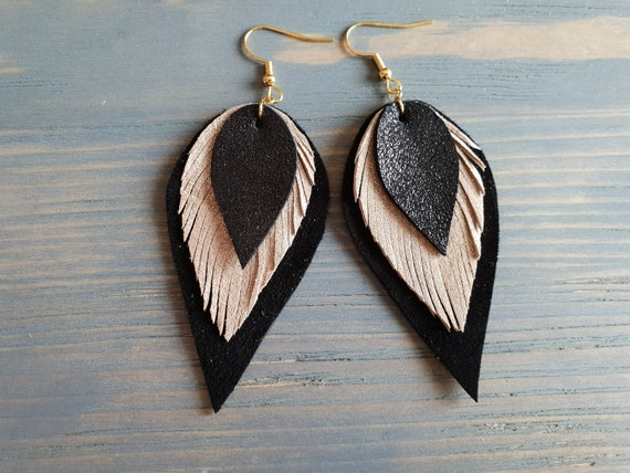Layered Leather earrings, Leather Teardrop Earrings, Boho Earrings, Leather Earrings, Leather Leaf Earrings, Bohemian Earrings, Boho Chic