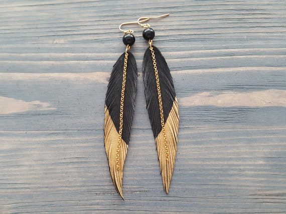 Black Feather Earrings, Boho Jewelry, Long Leather Earrings, Black Agate Earrings, Statement Earrings, Bohemian Earrings, Boho Earrings