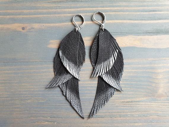 Triple Leather Feather Earrings / Genuine Leather Earrings  Handmade Bohemian Earrings  Boho Earrings  Silver Ombre Earrings Black Earrings