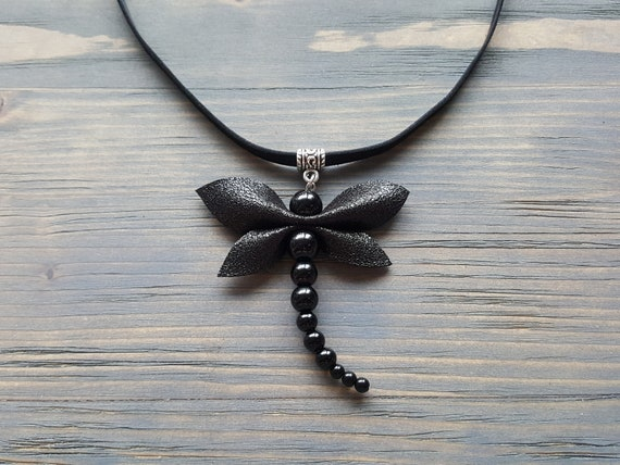 Black Onyx Necklace, Large Onyx Pendant, Black Leather Choker, Dragonfly Necklace, Gemstone Dragonfly Pendant, Leather Statement Necklace.