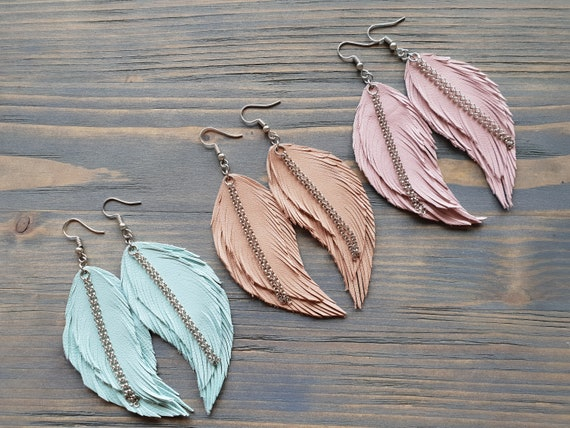 Super Light Weight Genuine Leather Feather Earrings: Aqua Blue, Beige, Blush Pink
